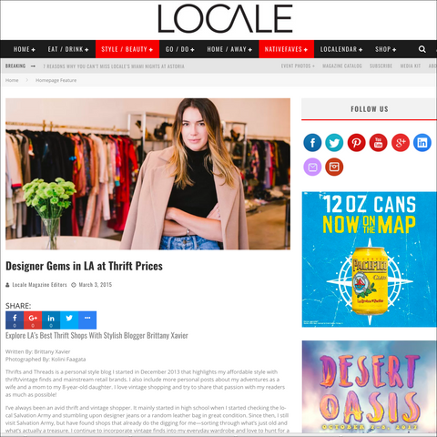 Recess in Locale Magazine- LAs Best Thrift Shops With Brittany Xavier