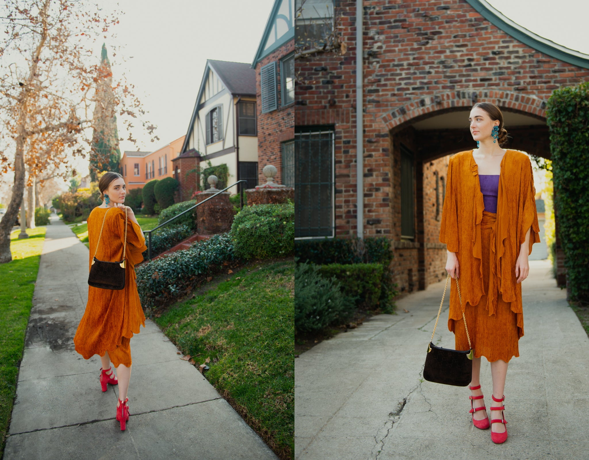 Girl in orange Vintage Holly's Harp Jacket and Skirt Set from Recess Los Angeles on the sidewalk