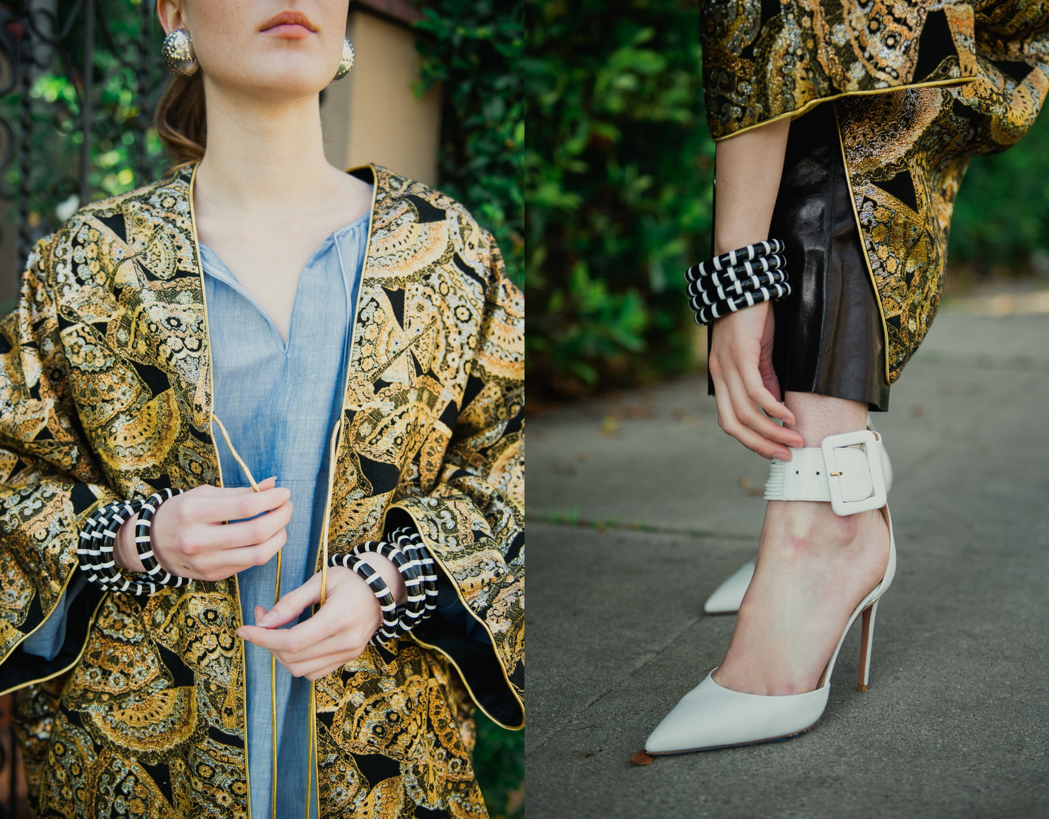 Girl in gold brocade Anthony Muto Cocoon coat leather pants & white heel front of gated shrubs