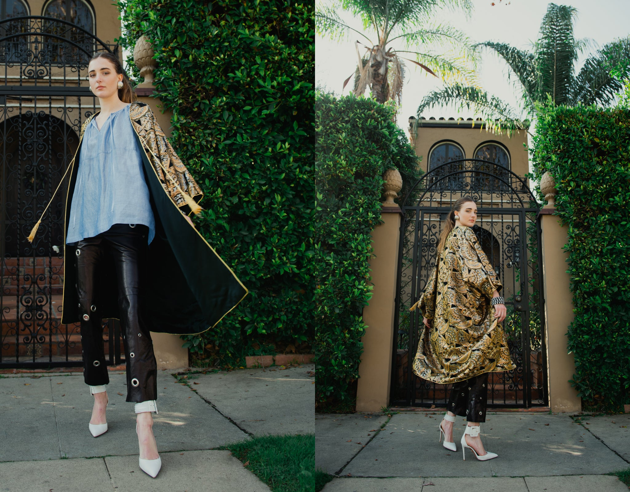 Girl in gold brocade Anthony Muto Cocoon coat and leather pants in front of gated shrubs