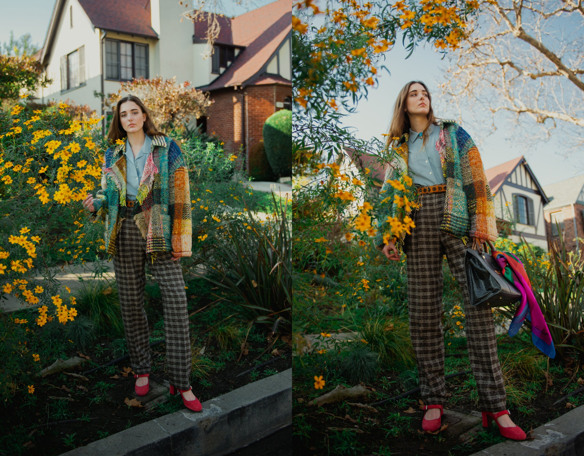 Girl in Rainbow JC de Castelbajac blanket coat and wool trousers with yellow flowers