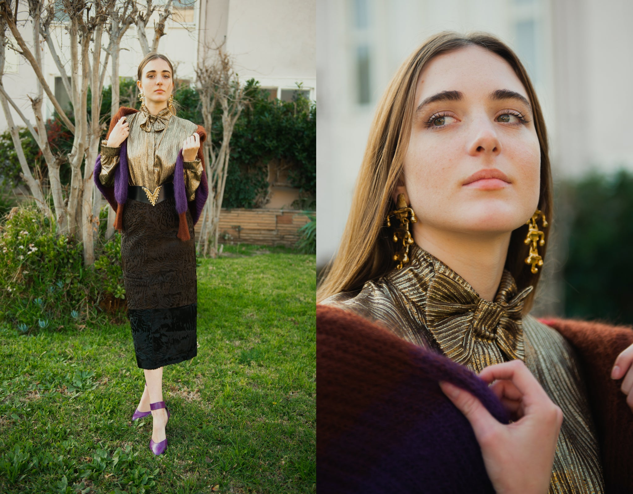 Girl in gold Jacques Molko blouse and Fendi Persian Lamb Skirt by tree