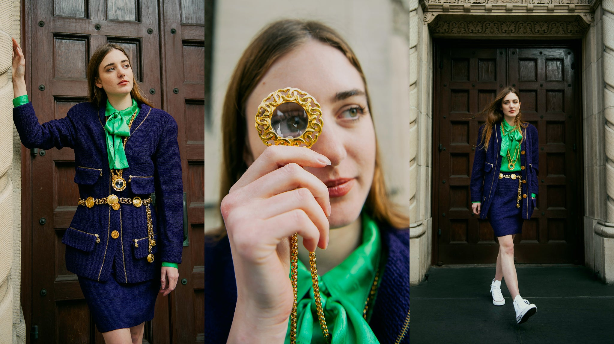 Recess Vintage Girl in Chanel Bouclé Jacket and Skirt with Magnifying Glass necklace