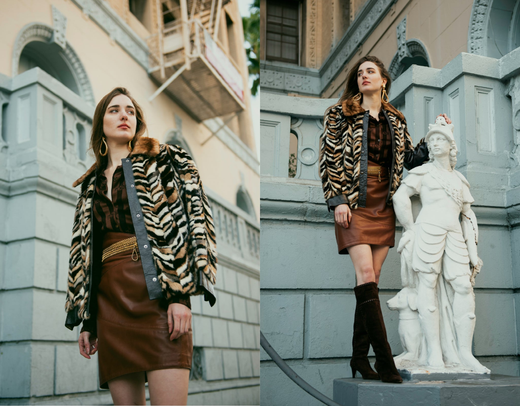 Recess Girl in Vintage Zoo Furs Chevron Mink Coat, Ferre Leather Skirt Posing with statue