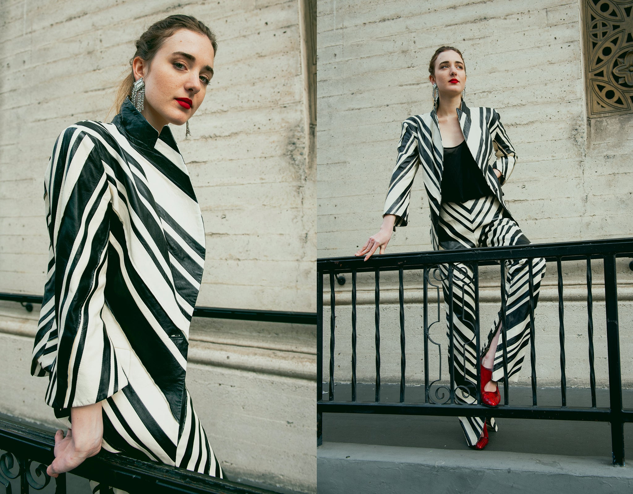 Recess Vintage Girl in zebra stripe Gianfranco Ferre Leather suit with red shoes