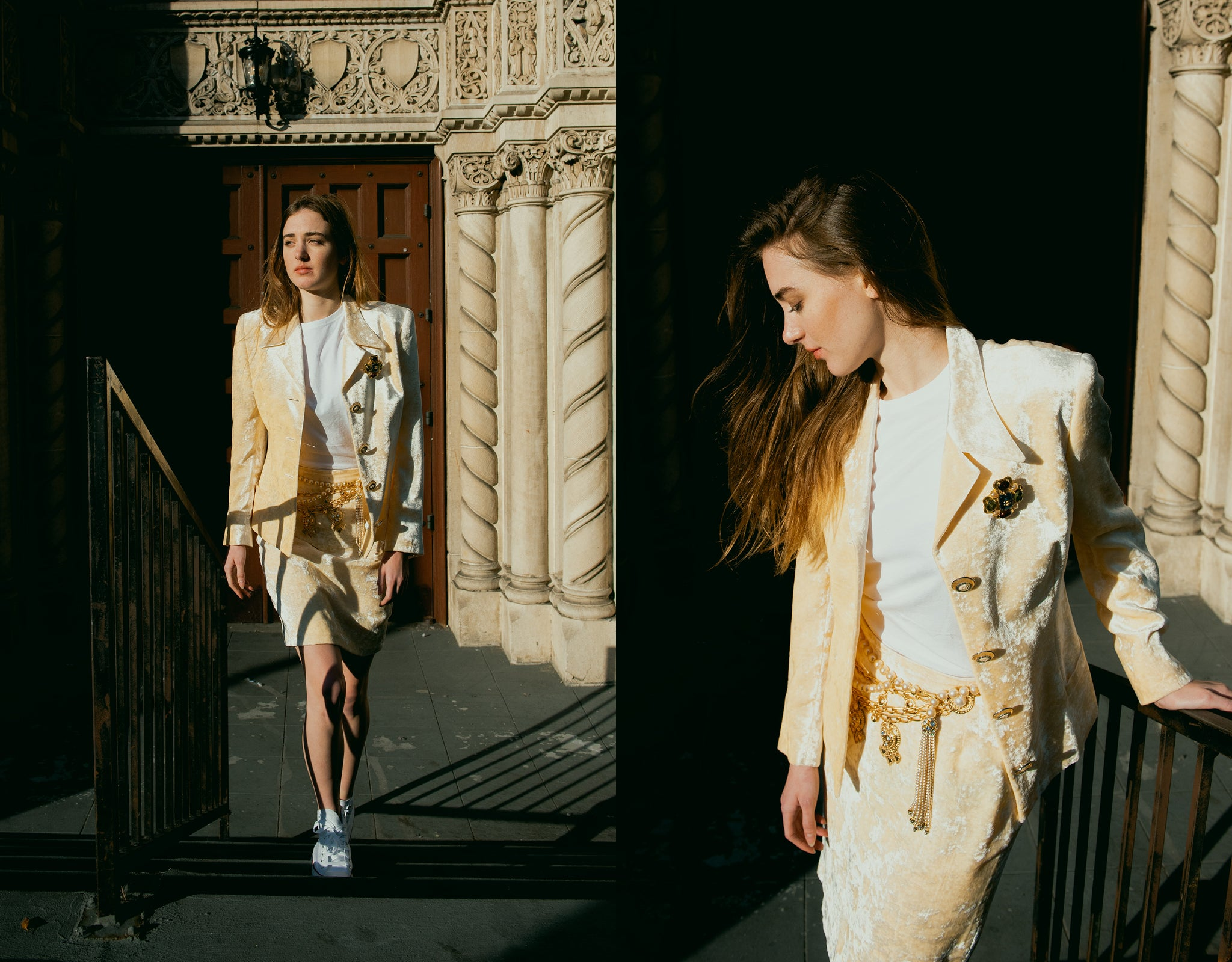 Recess Vintage Girl in Cream Versace crushed velvet skirt suit with chanel jewelry