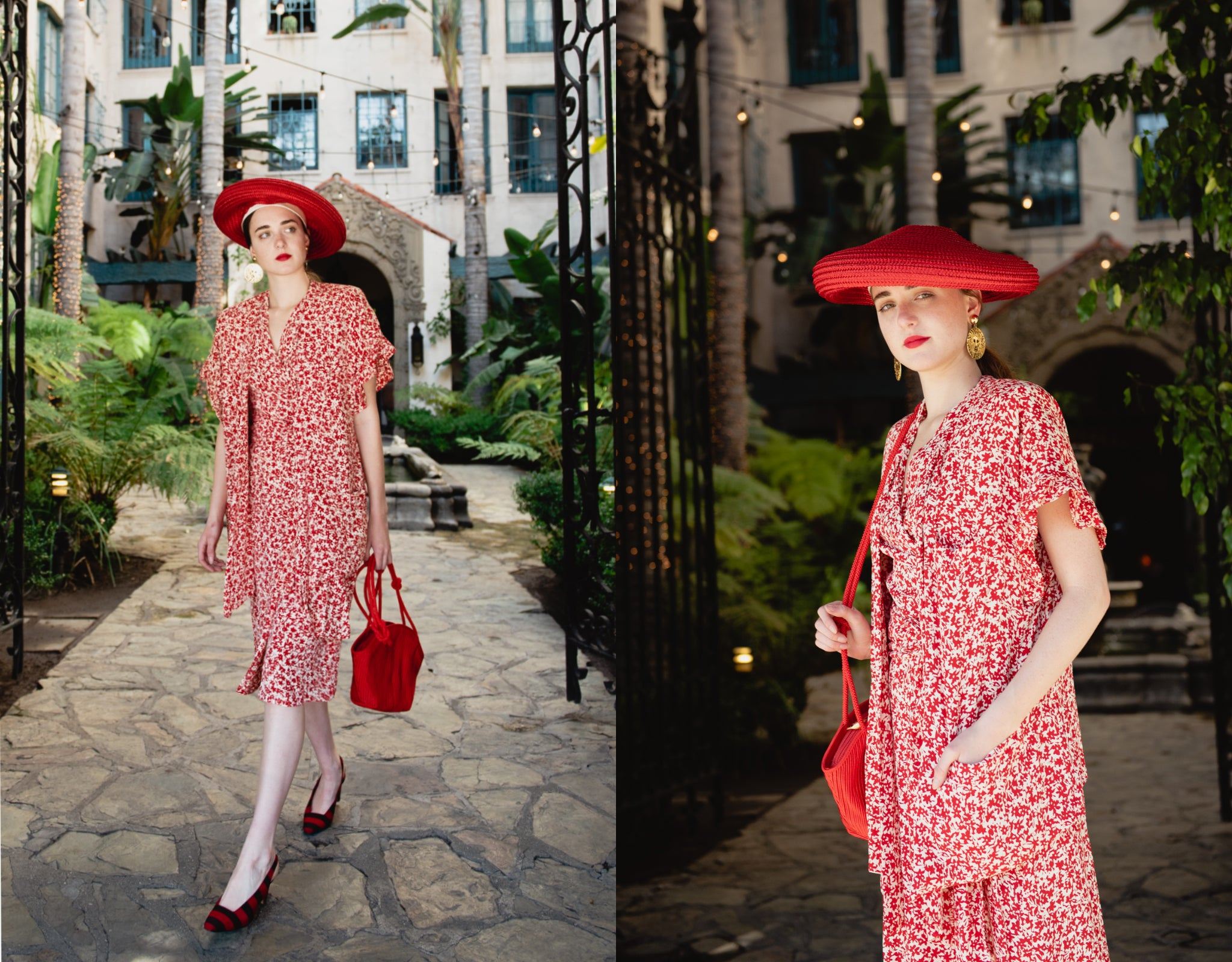 Girl wearing Sonia Rykiel red floral print jacket top and skirt set with red hat and purse
