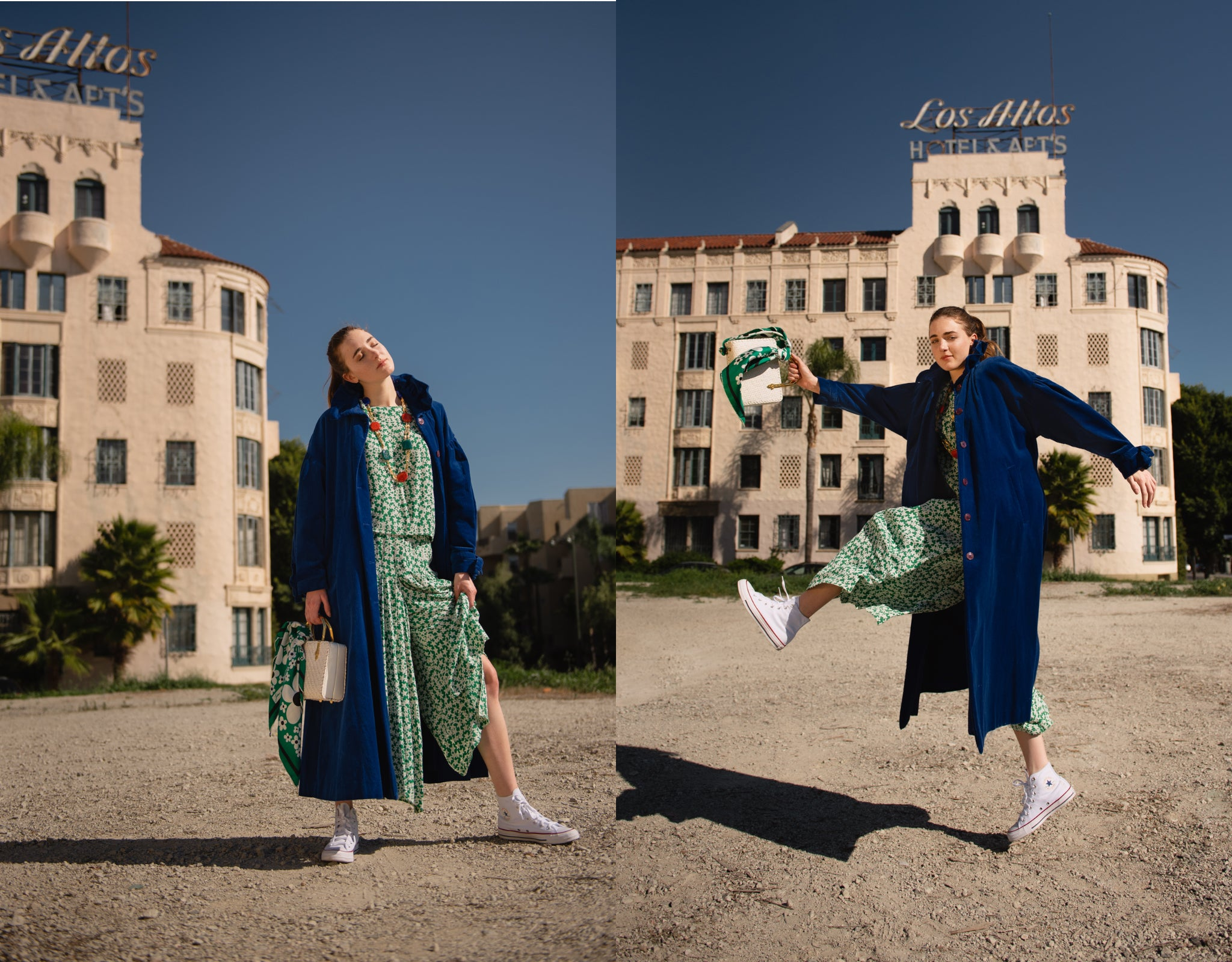 Girl in vintage Sonia Rykiel green print top and pant w/ blue coat & white basket bag from Recess
