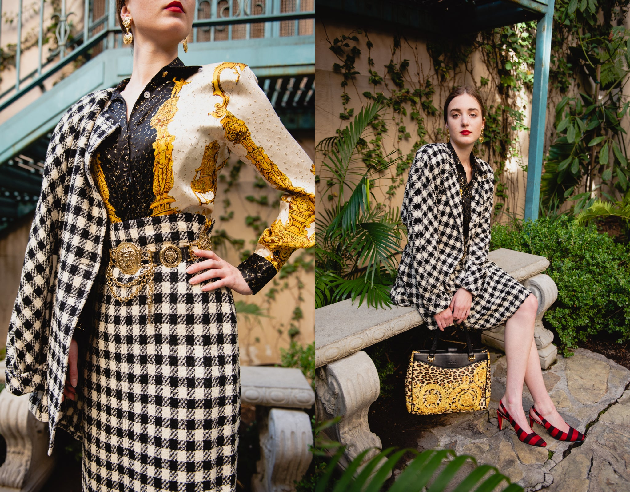 Girl in vintage Sonia Rykiel black white check boucle jacket skirt and baroque blouse from Recess