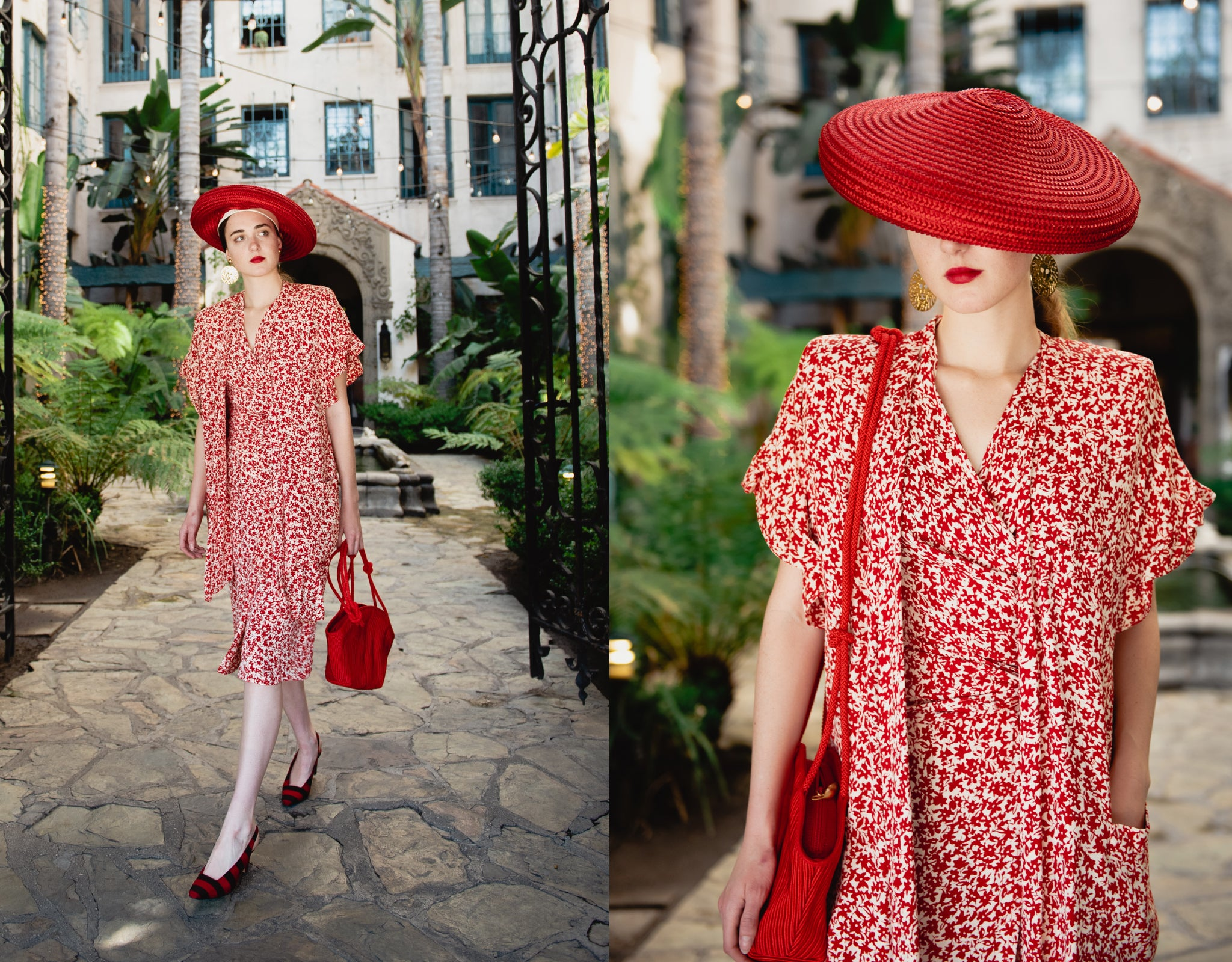 Girl in vintage Sonia Rykiel red floral print top jacket skirt red hat bag and lipstick at Recess