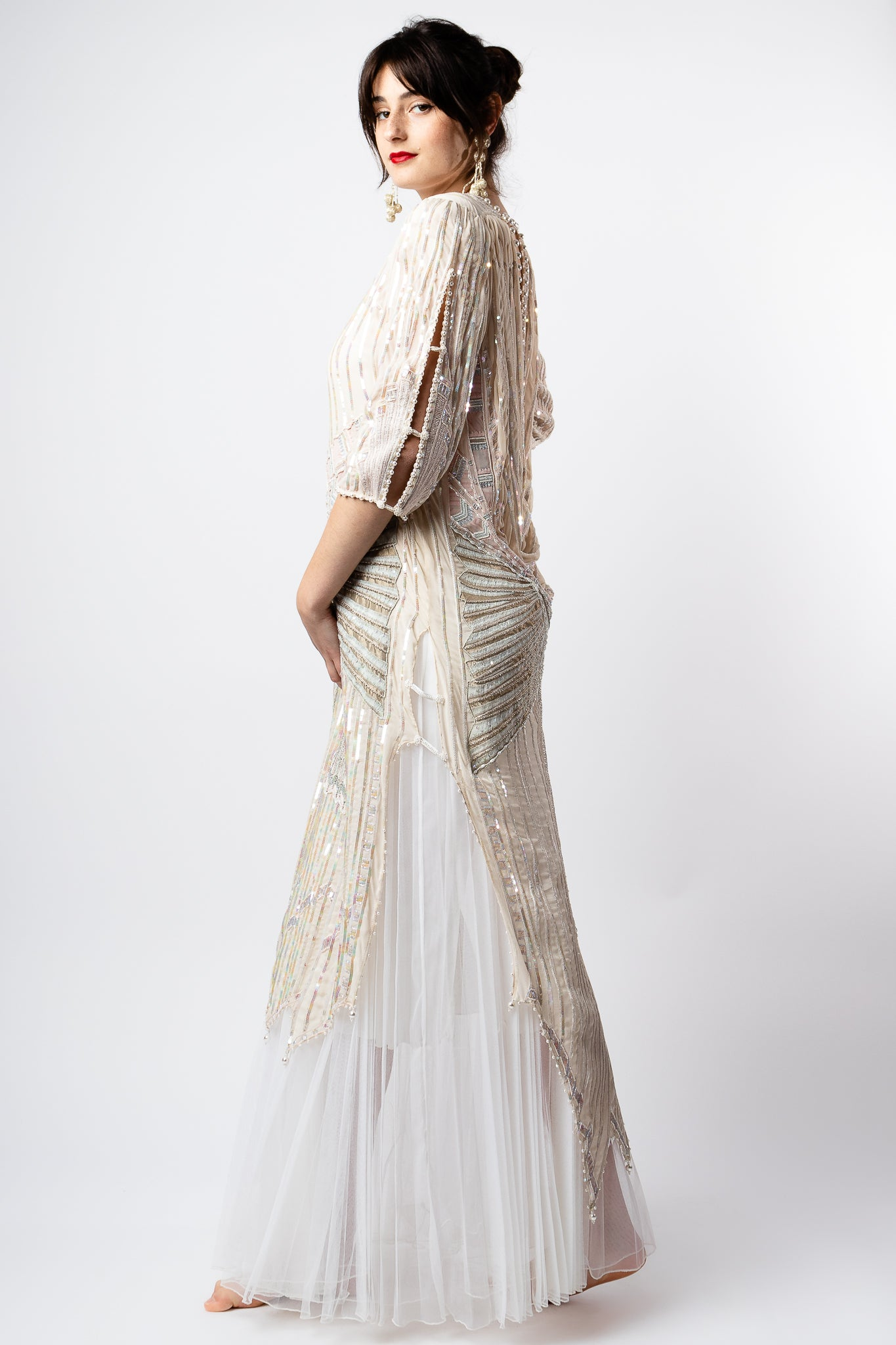 Recess Los Angeles Vintage Consignment Romy Reiner Zandra Rhodes Beaded Layered Gown