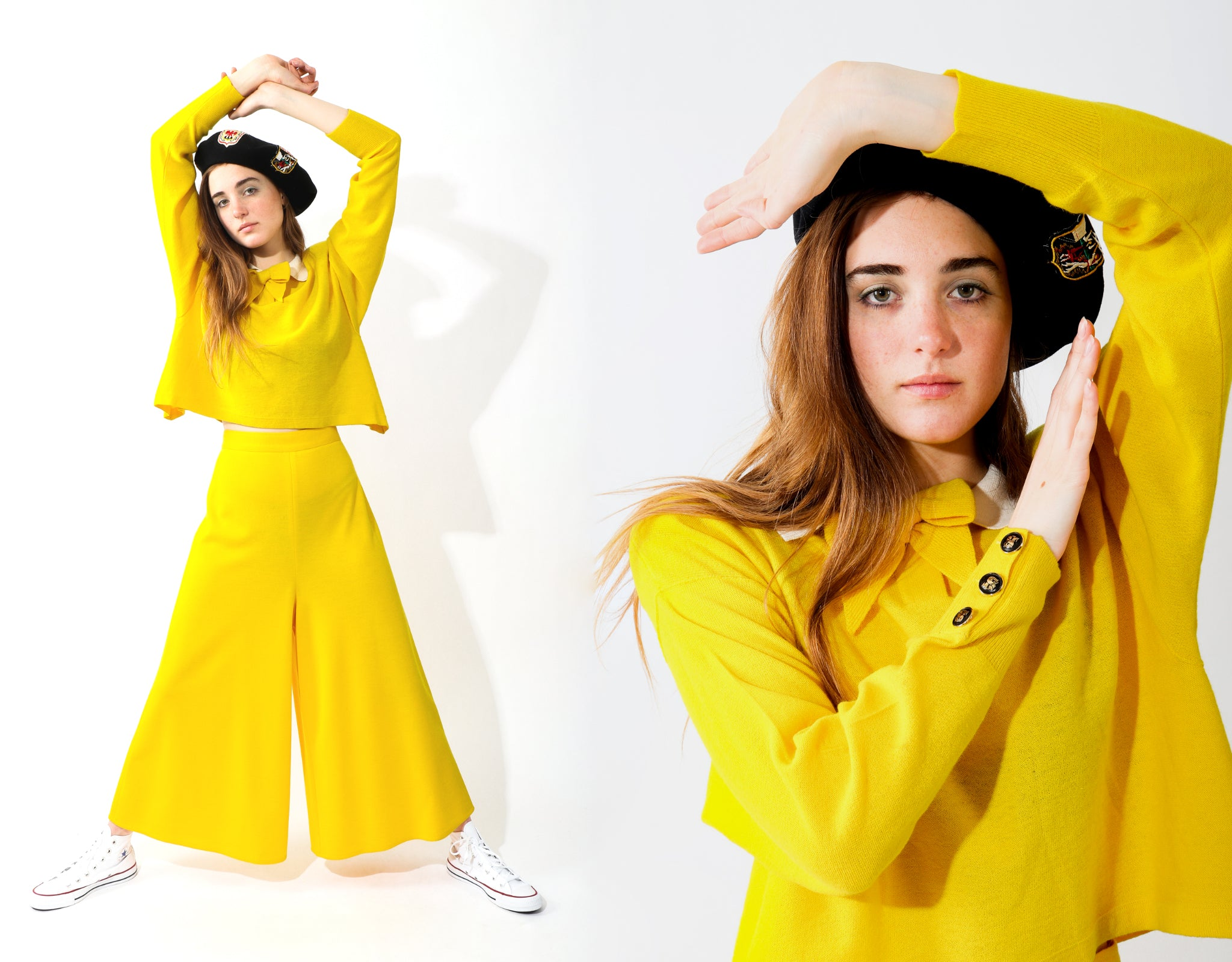 Girl wearing vintage Sonia Rykiel yellow collared top and gaucho pant with european crest beret