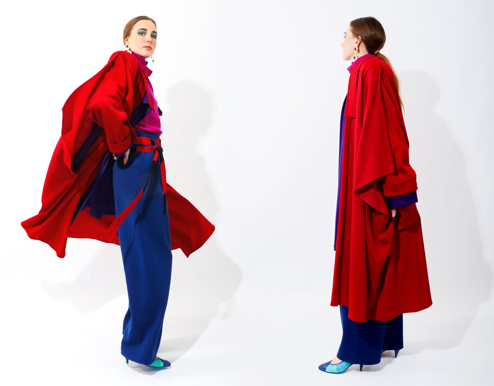 Girl in layers of Sonia Rykiel with Red Coat, Purple Coat, Hot Pink Button and Blue Pant