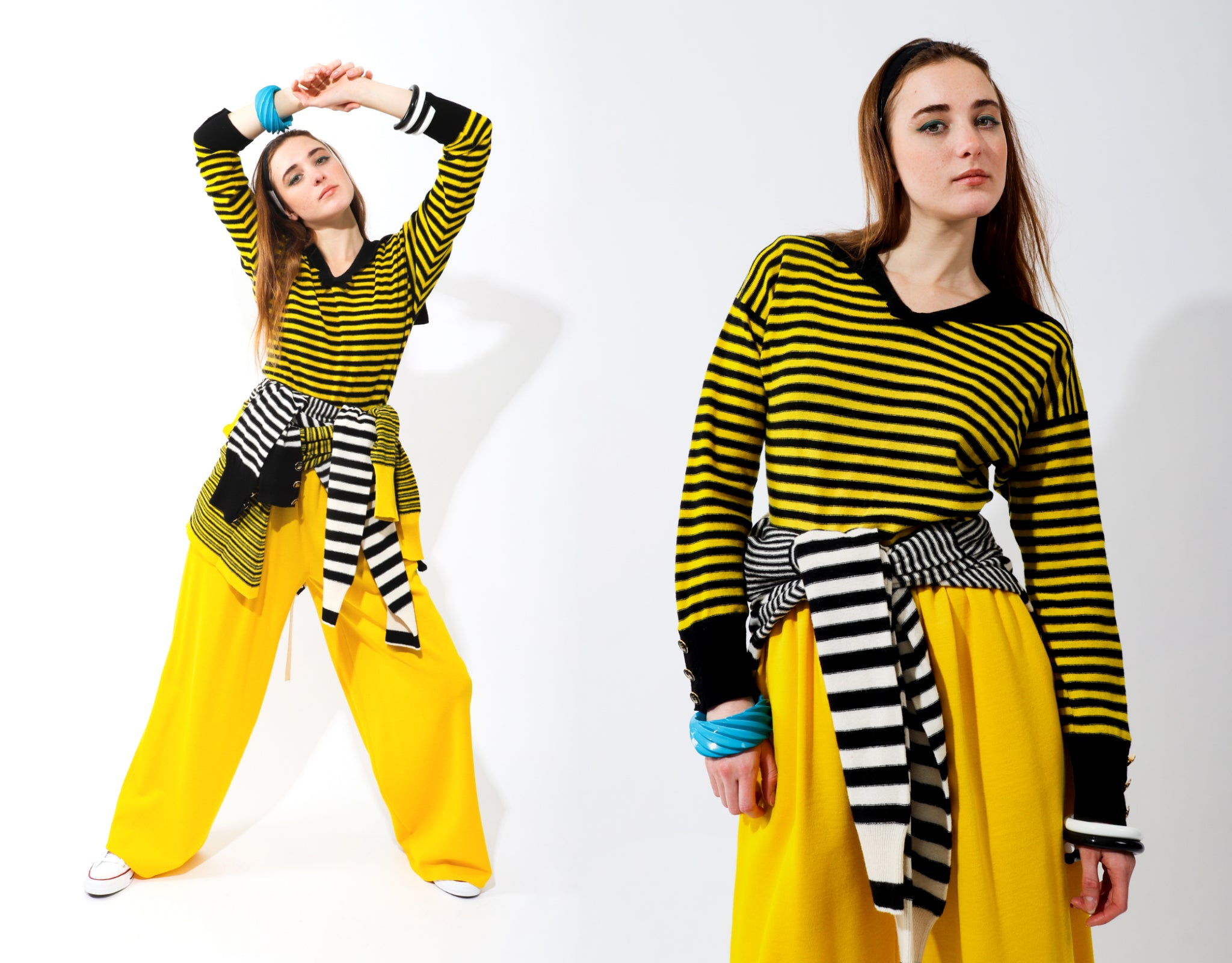 Recess Vintage Sonia Rykiel Rainbow Girl in yellow striped sweater and yellow pants