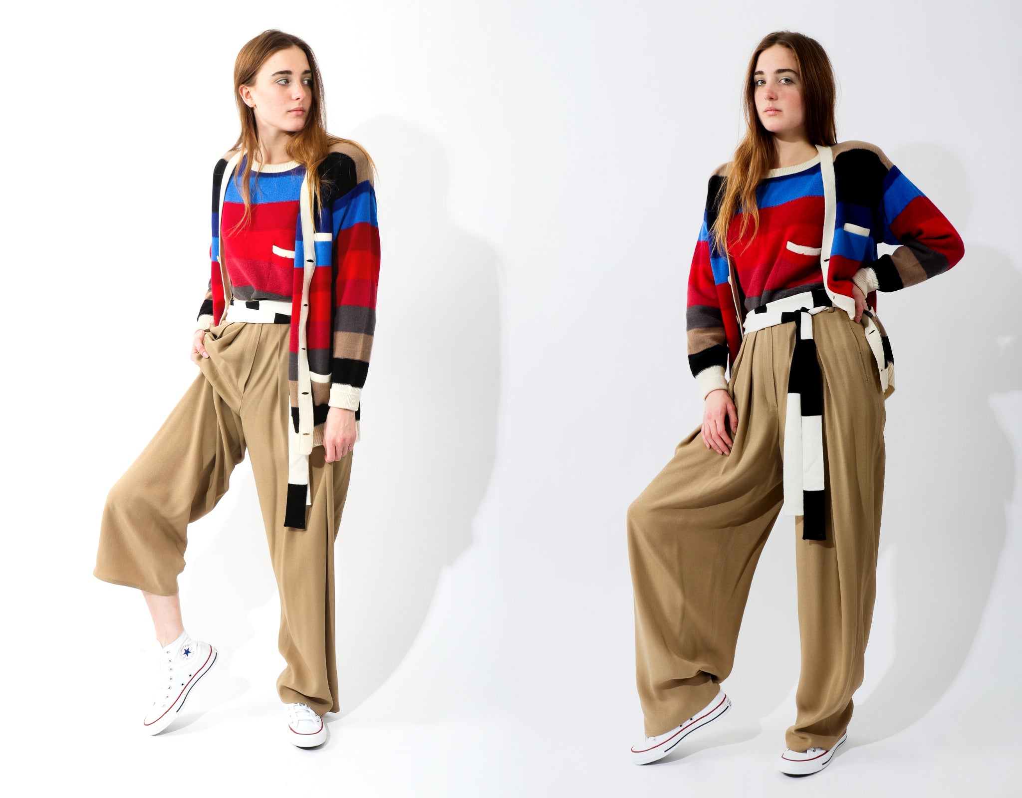 Recess Vintage Sonia Rykiel Rainbow Girl in colorful stripe sweaters and khaki trousers