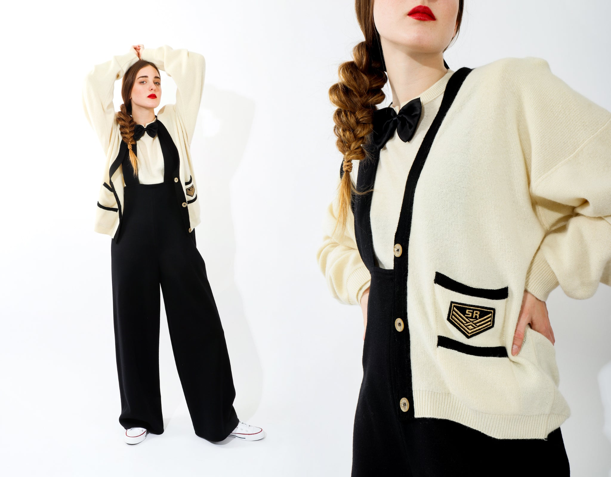 Girl in Sonia Rykiel black suspender pant and cream cardigan sweater with red lipstick at Recess