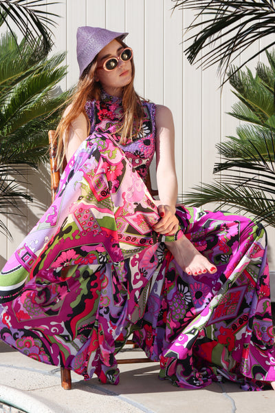 Recess Los Angeles Vintage Desert Resort Palm Springs Weekend Getaway Victoria Royal Psychedelic Pucci Wide Leg Jumpsuit