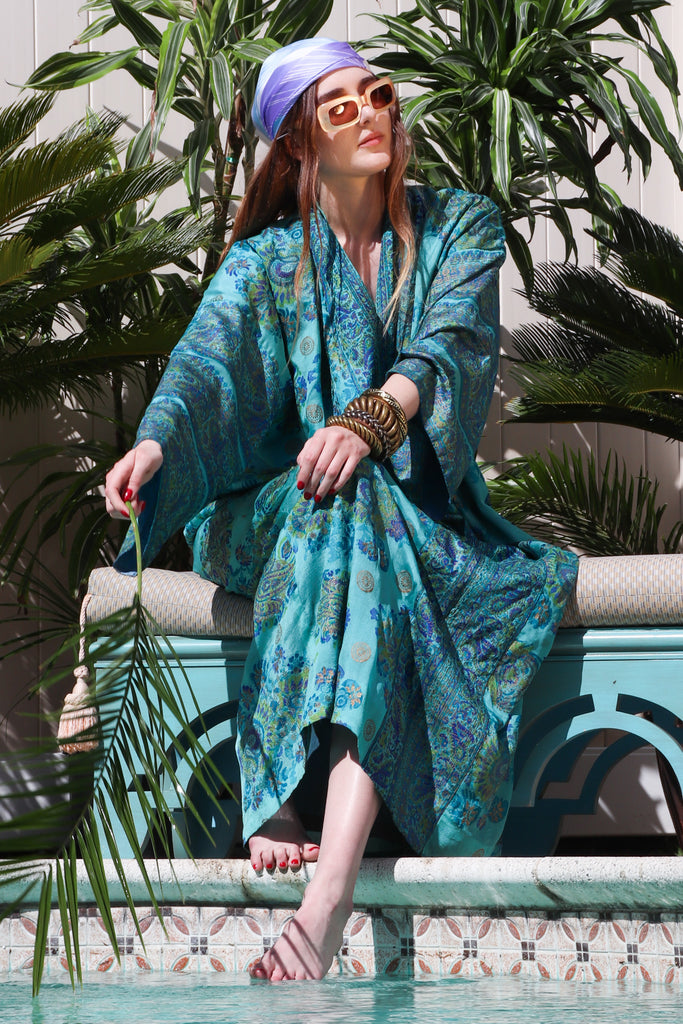 Recess Los Angeles Vintage Desert Resort Palm Springs Weekend Getaway Saks Fifth Ave India Silk Caftan