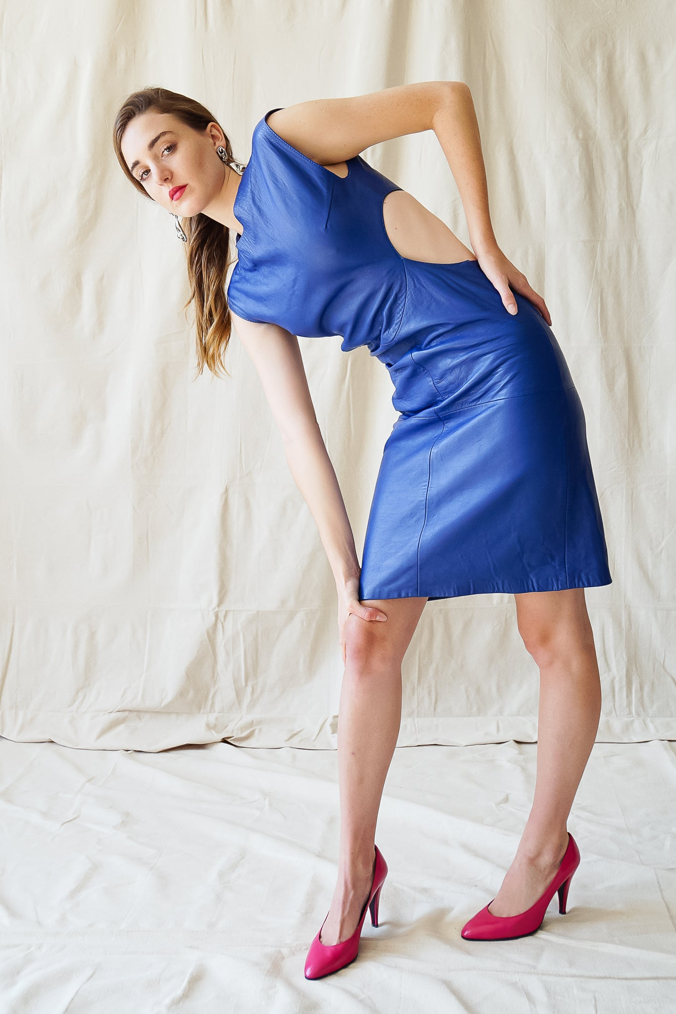Recess Vintage Los Angeles Girl in Climax blue leather dress