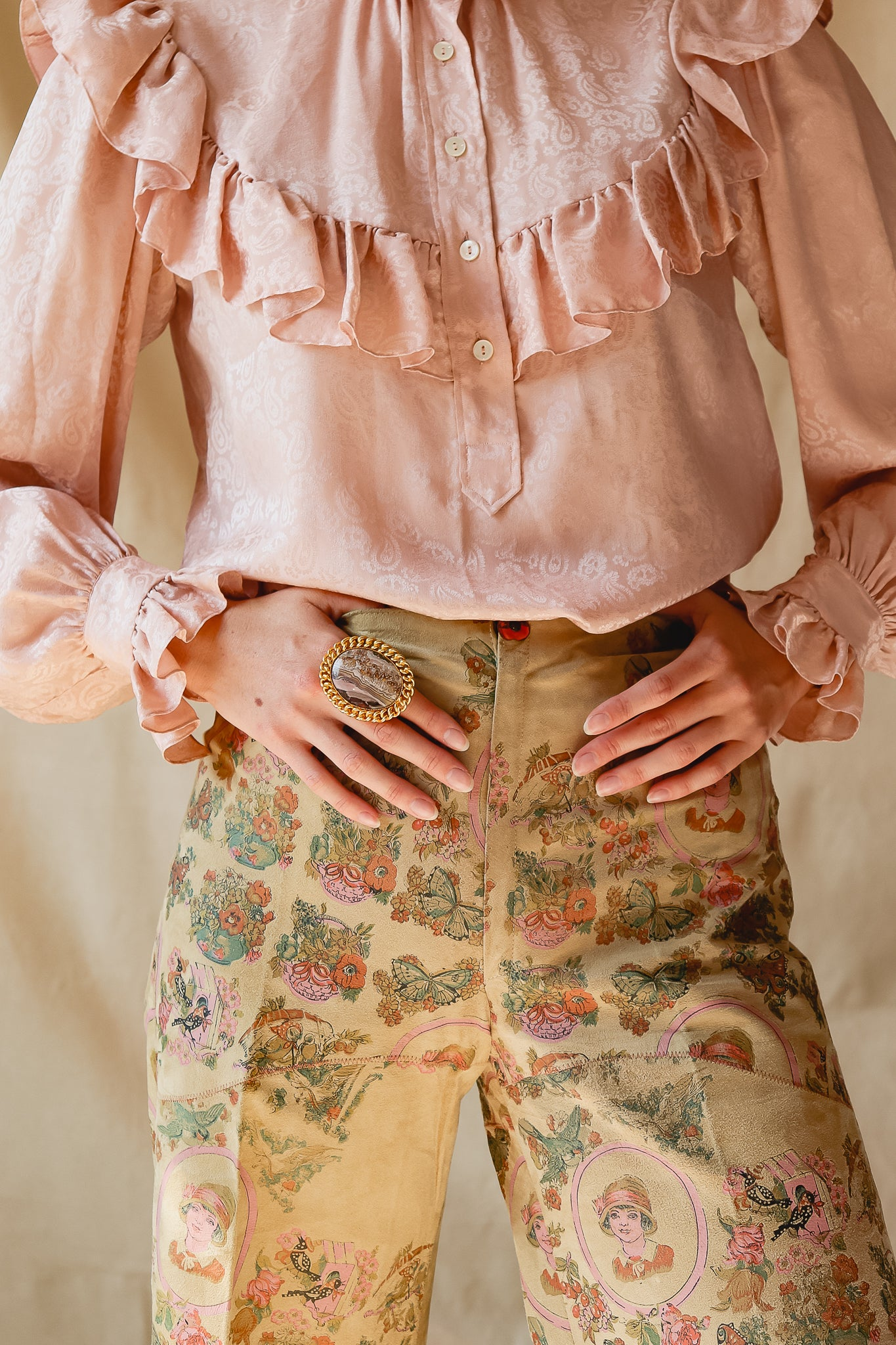 Recess Vintage Consignment torso waist & rings on  in YSL Blouse & Painted Suede Pants