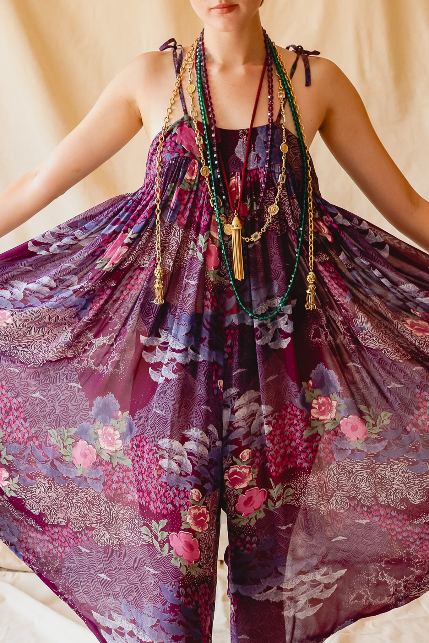 Recess Vintage Consignment LA Girl in Adini Sheer Purple Harem Jumpsuit and necklaces