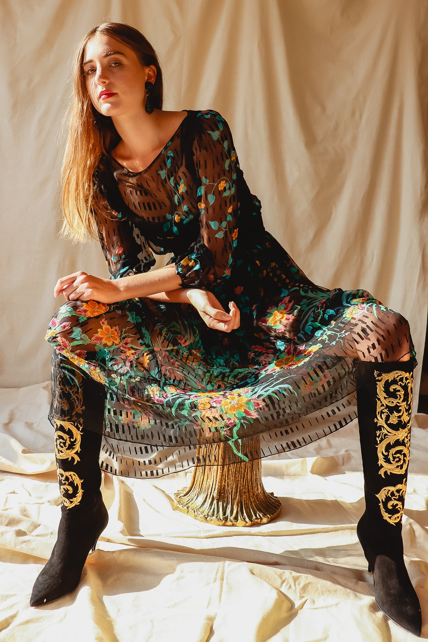 Recess Vintage Consignment LA Girl in Vintage Sheer Silk Floral Dress & Embroidered Boots on Stool
