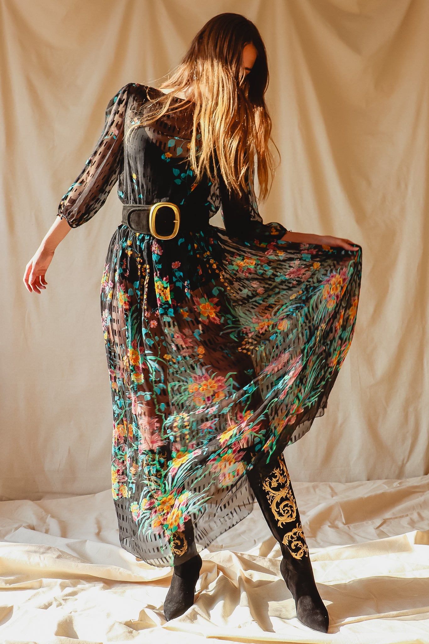 Recess Vintage Consignment LA Girl in Vintage Sheer Silk Floral Dress & Embroidered Boots
