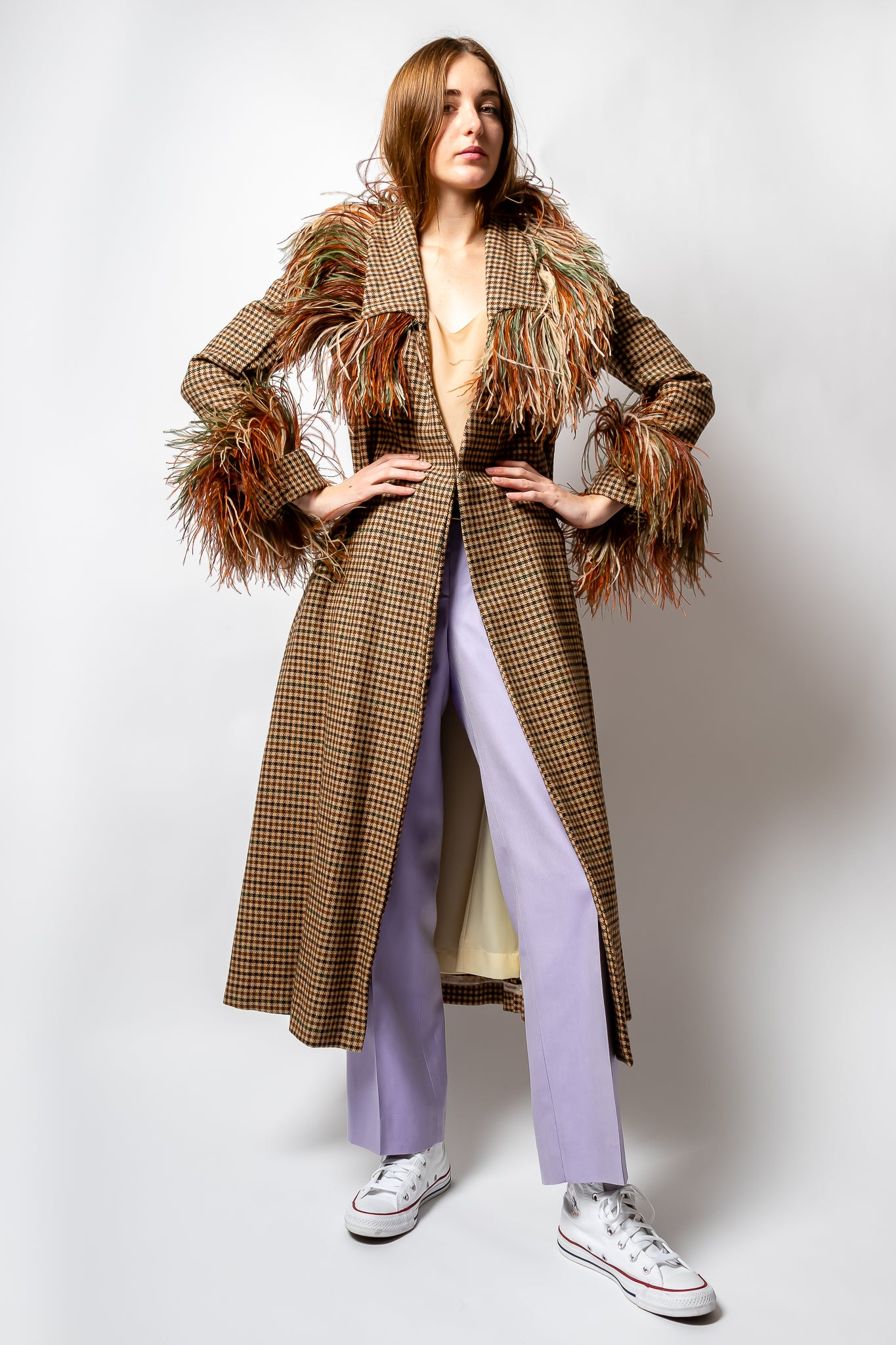 Girl wearing vintage Feather Trim Check Coat with lavender Versace pant at Recess Los Angeles