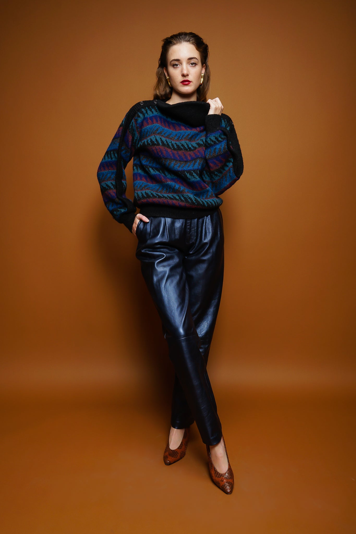 girl in Missoni sweater & Erez metallic leather pant on brown @ Recess Los Angeles