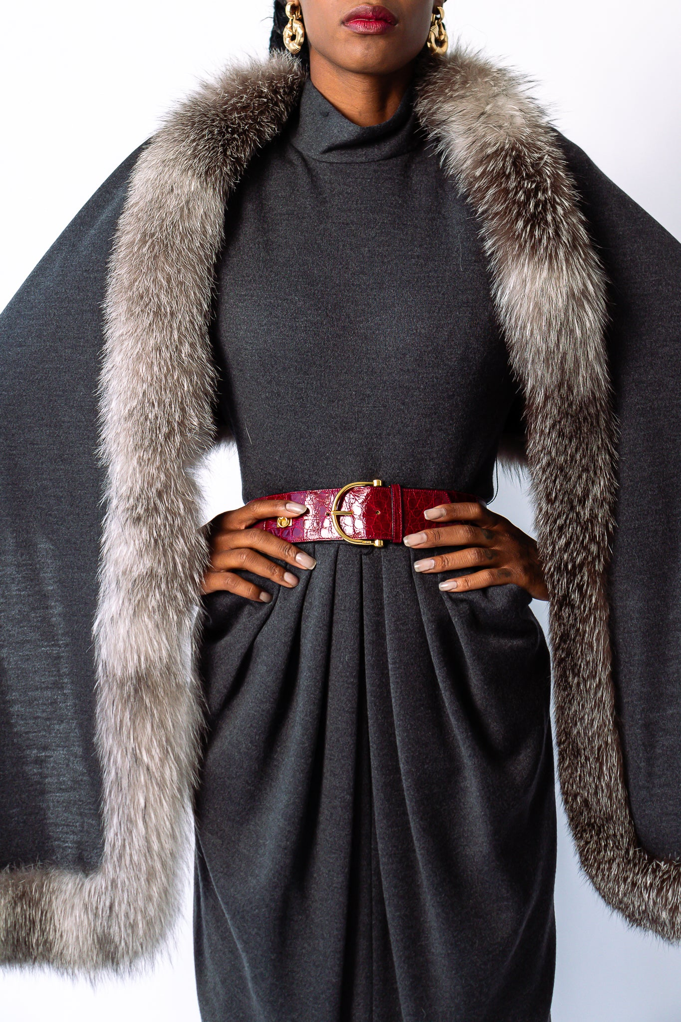 Girl in grey Victor Costa dress and fur shawl set with Cartier belt at Recess Los Angeles