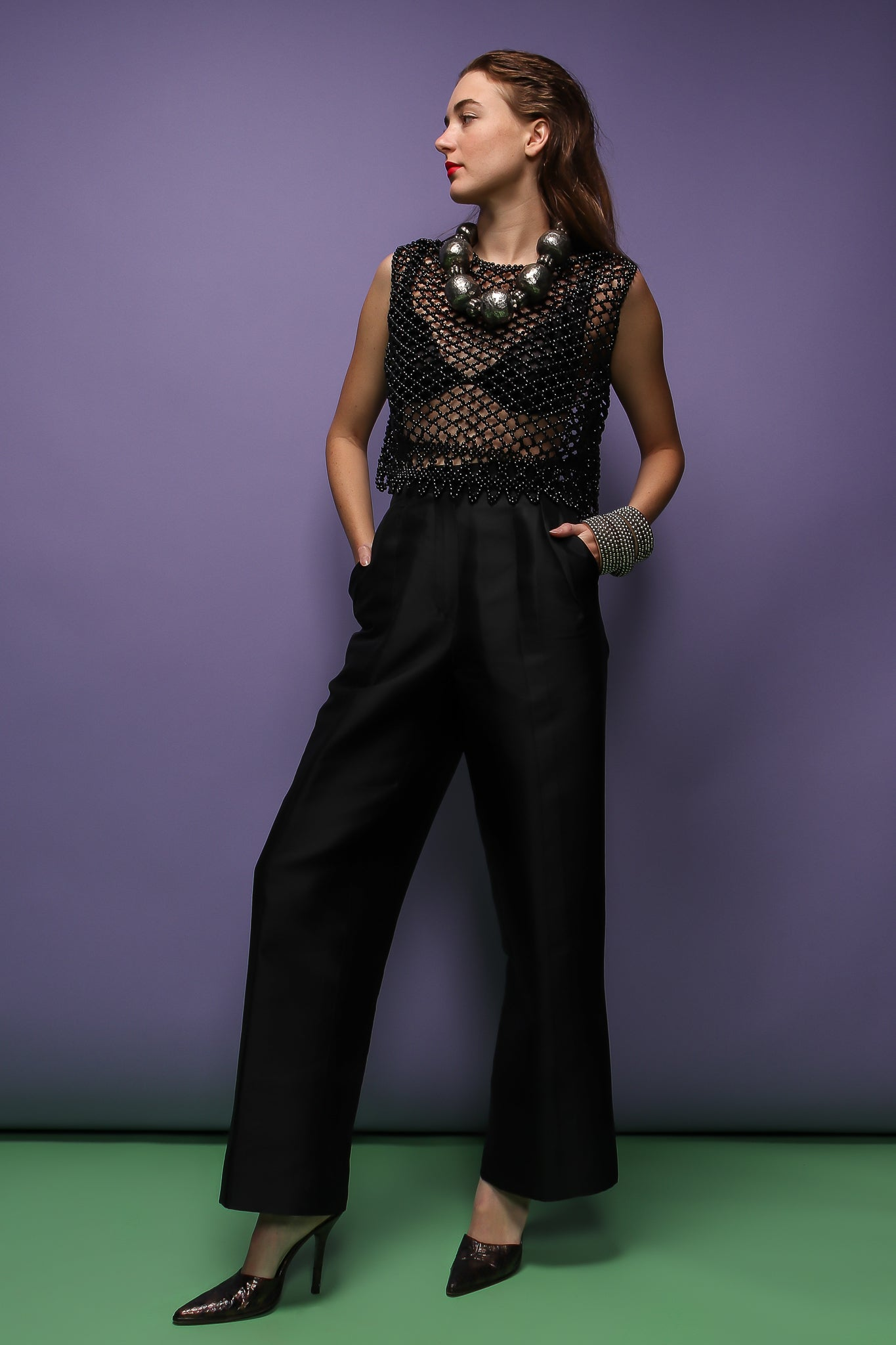 girl in black beaded top, jill sander pant, & beaded ball necklace at Recess Los Angeles