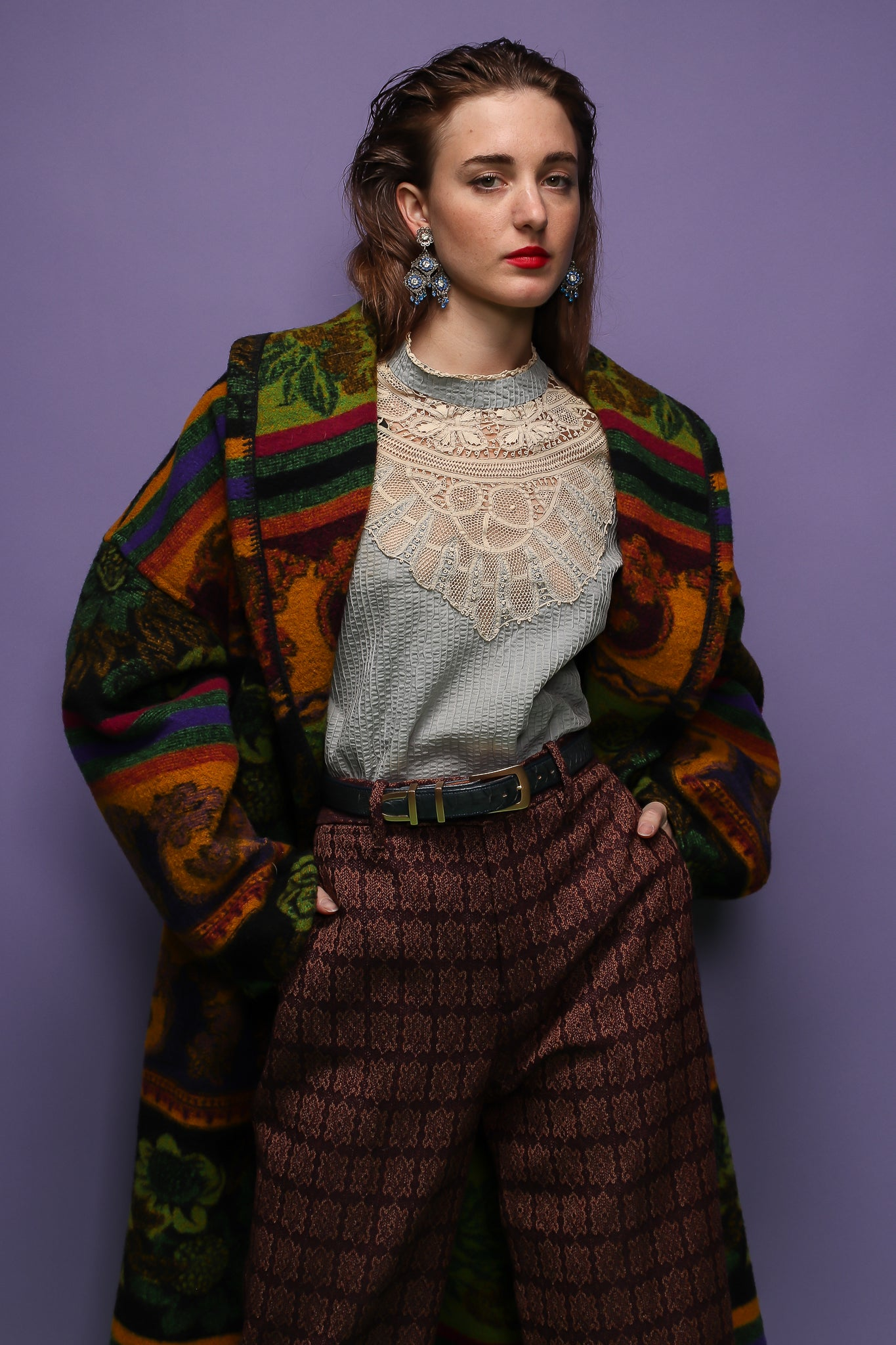 Girl in Neiman Marcus wool pattern coat, Gucci pant, victorian lace top at Recess Los Angeles
