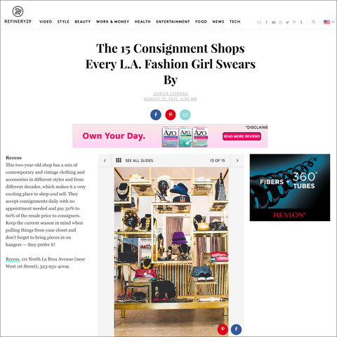 Recess in Refinery29 Best Consignment Every LA Girl Swears By