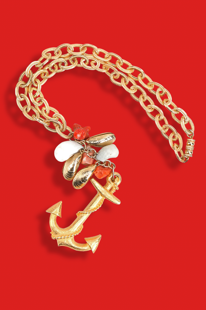 Recess Los Angeles Vintage Designer Consignment Love Boat Fashion Cruise Les Bernard Anchor Charm Necklace