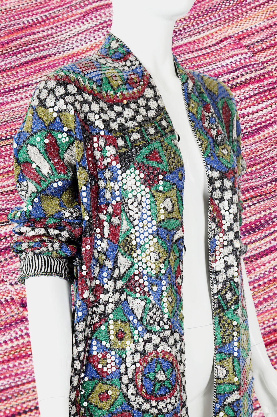 Recess DressCode Designer Consignment Vintage Missoni Knit Knitwear Sweater Weather Sequin Geometric Sweater Jacket Swacket