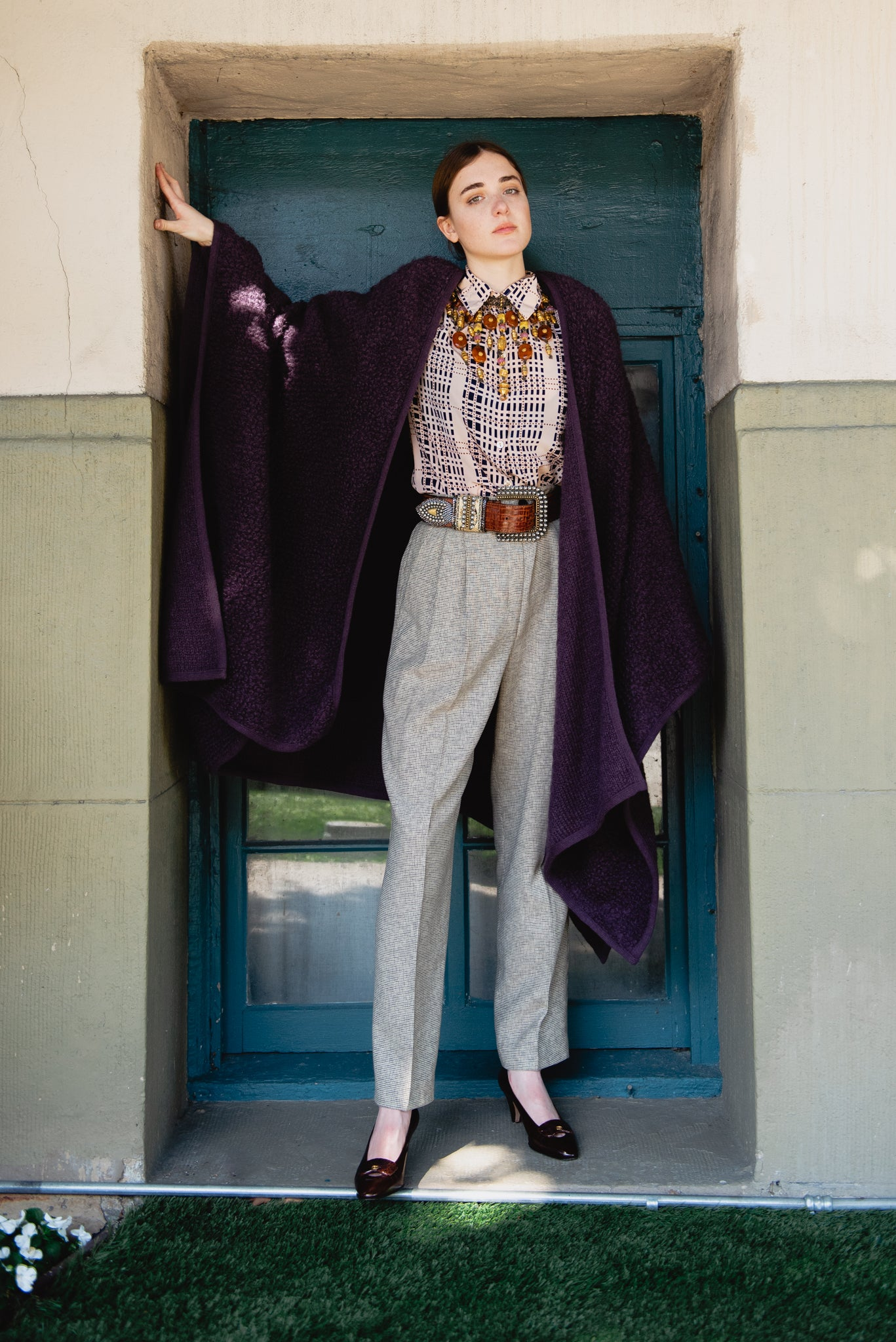 Girl Wearing Vintage Sonia Rykiel Curly Wool Cape Coat over Printed Blouse and Wool Pant