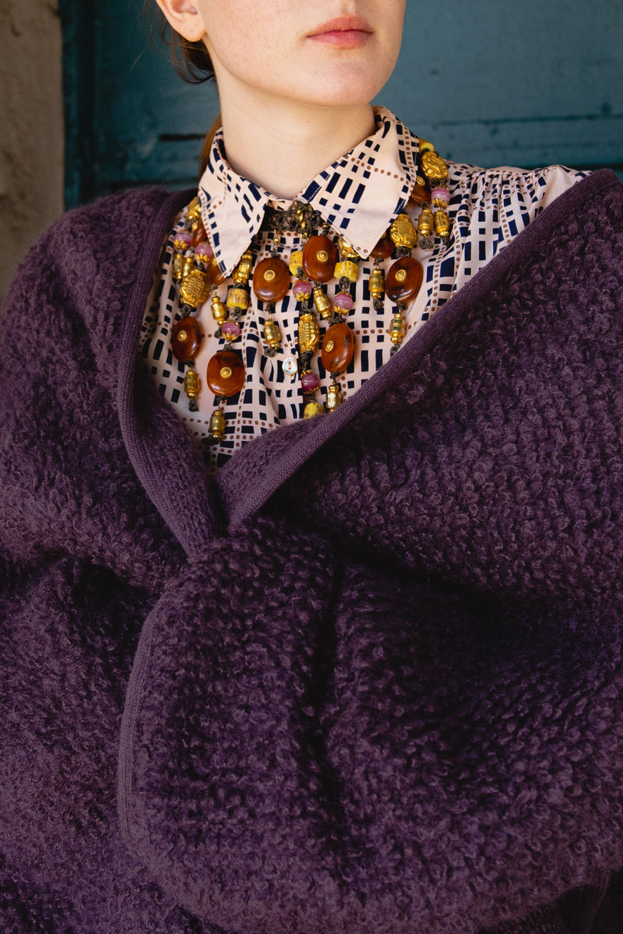 Vintage Sonia Rykiel Curly Wool Cape Coat Blouse and Valentino Necklace on girl