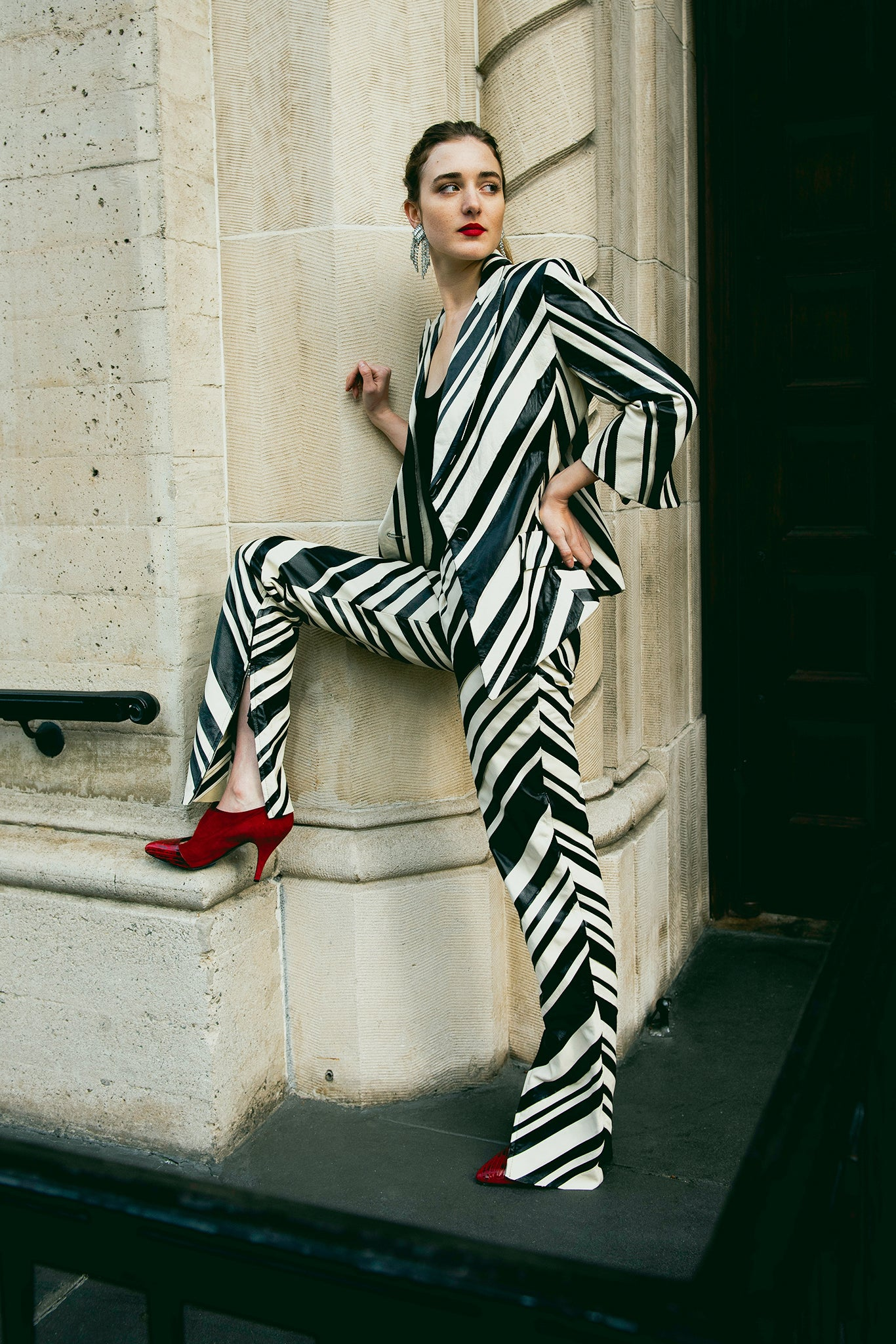 Recess Vintage Girl in Gianfranco Ferre Zebra Stripe Leather Suit with red shoes