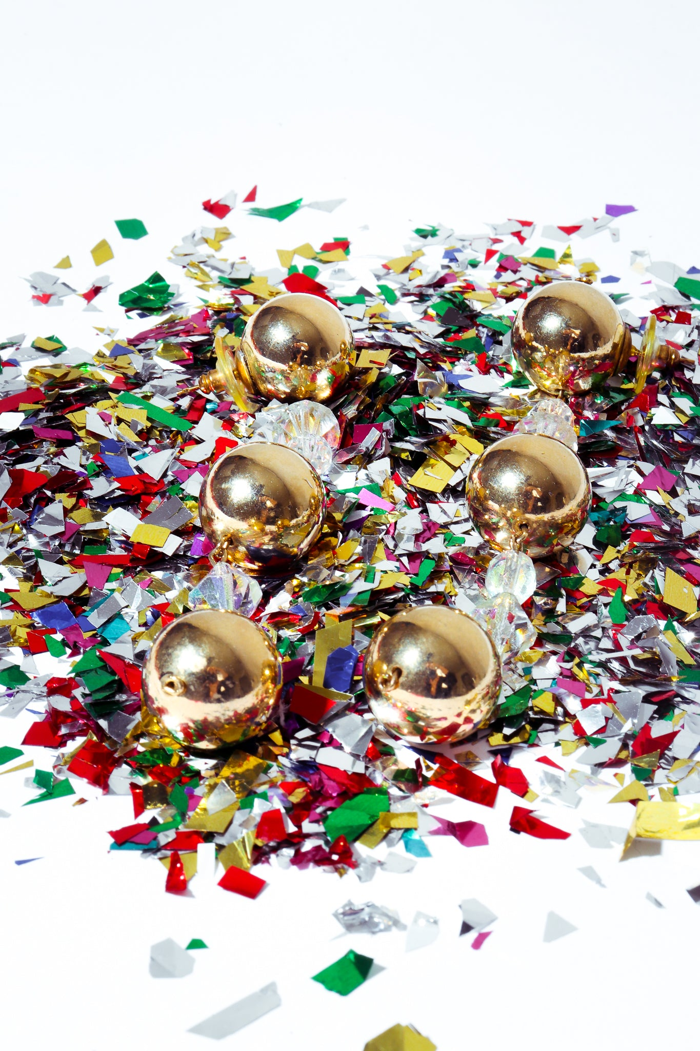 Recess Dresscode New Ear's Sparklers Unsigned Shiny Gold Ball Drop Earrings with confetti