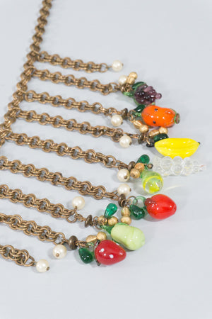 Glass Fruit Bib Necklace