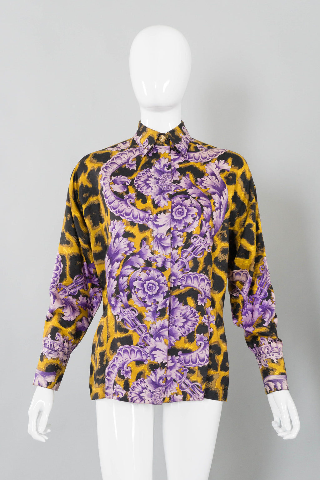 Gianni Versace Cheetah Flourish Print Blouse