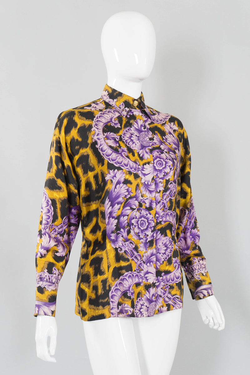 bf6661e4 Gianni Versace Cheetah Flourish Print Blouse Side Front