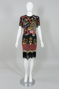 Naeeh Khan Riazee Vintage Beaded Alphabet Fringe Cocktail Dress