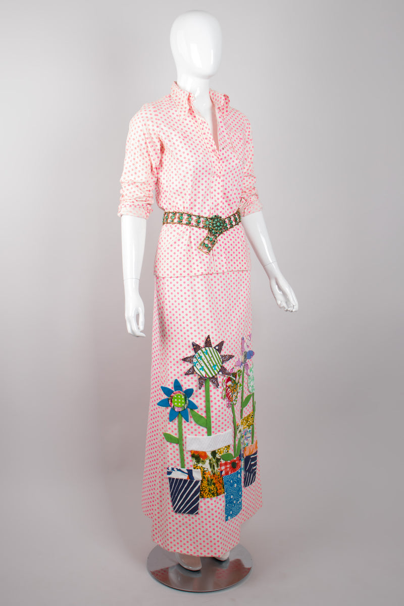 Sarff Zumpano Vintage Appliqué Flowerpot Dot Shirt & Skirt Set