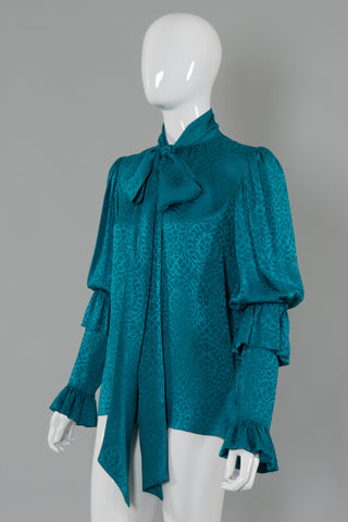 Yves Saint Laurent Ruffle Sleeve Tie Neck Blouse