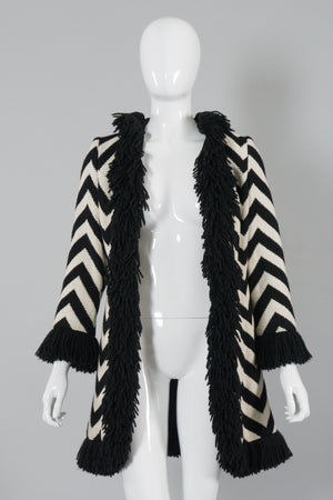 Lilli Ann Vintage Graphic Chevron Stripe Fringe Coat