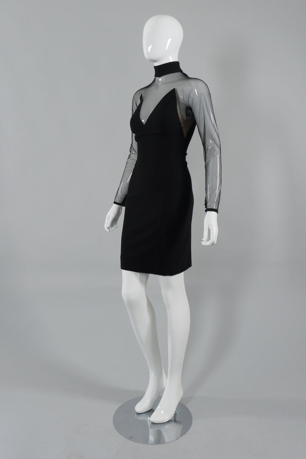 d7d8be98b41c Gianni Versace Sheer Panel Stretch Bodycon Dress Side