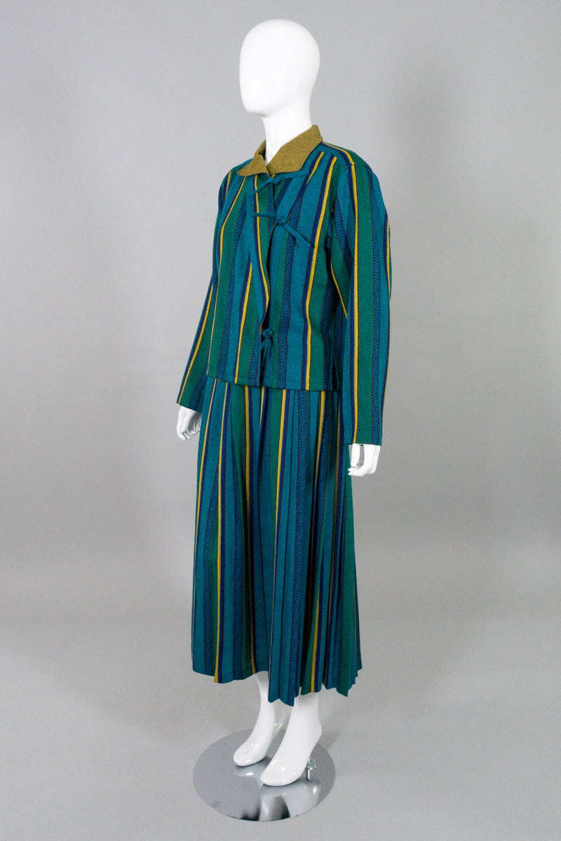 Kenzo Vintage Ethnic Striped Tie Jacket & Skirt Set