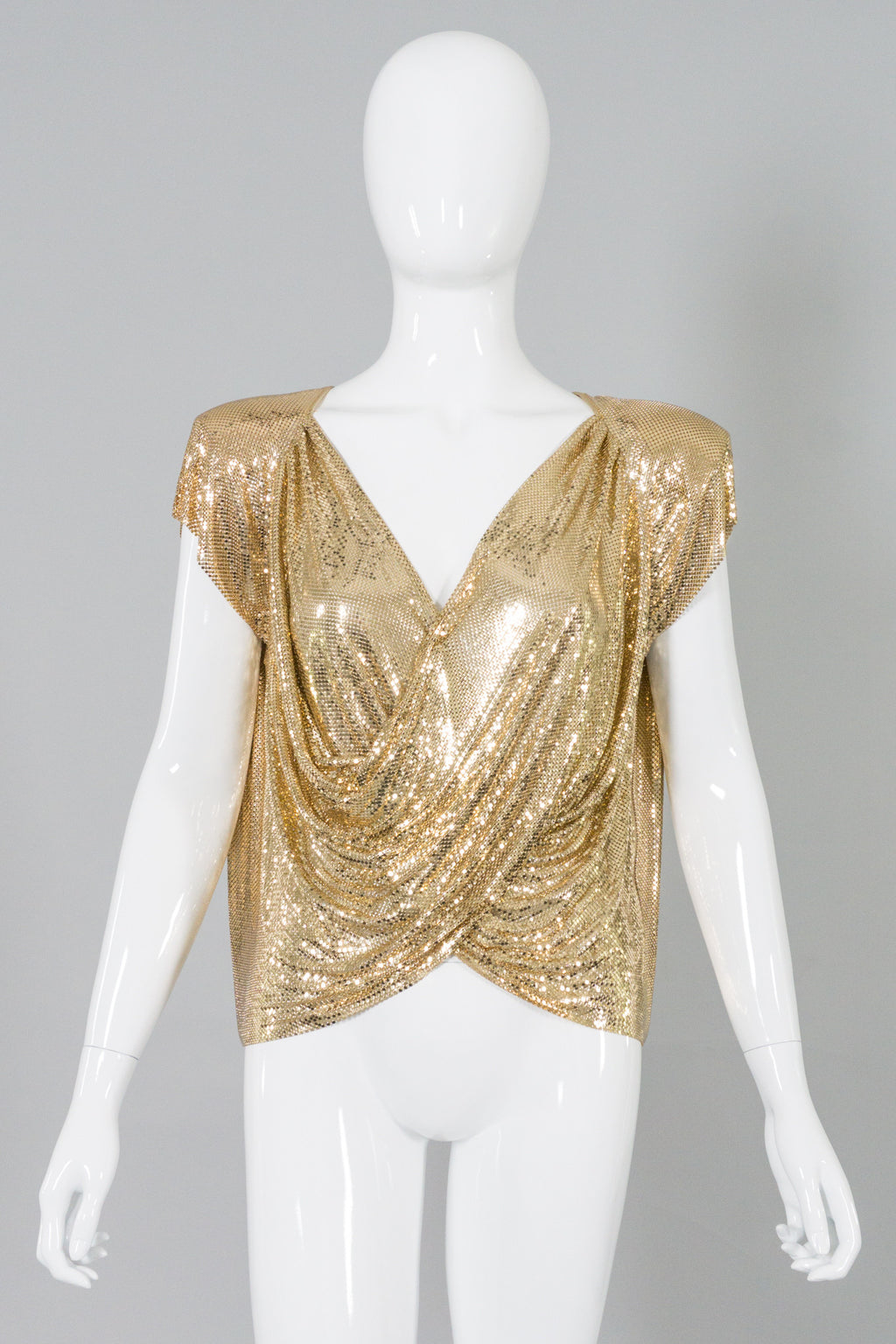 Whiting&Davis Gold Mesh Draped Surplice Wrap Top