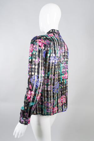 Oscar de la Renta Vintage Sheer Silk Floral Plaid Blouse